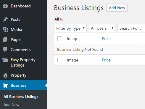 The new Business listings tab.